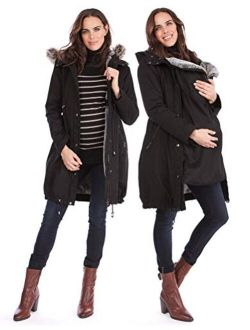 Seraphine Women's 3 in 1 Winter Maternity Parka Jacket Faux Fur Lined