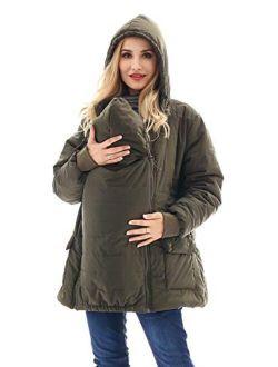 Bearsland Maternity Babywearing Pregnancy Jacket Coat Mother's Down Duffle Coat with Windproof Waterproof