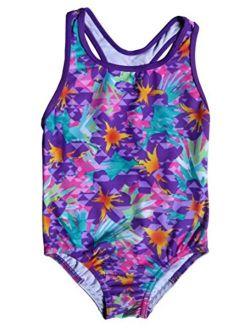 Girls Jungle Floral Racerback One Piece Swimsuit