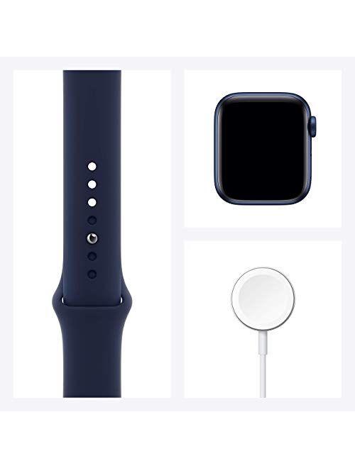 Apple Watch Series 6 (GPS, 44mm) - Blue Aluminum Case with Deep Navy Sport Band (Renewed)