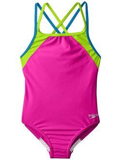 Girls Cross Back Splice 1 Piece Swimsuit, New Blush, 14