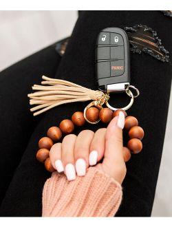 Beige Wooden Key Ring Bracelet
