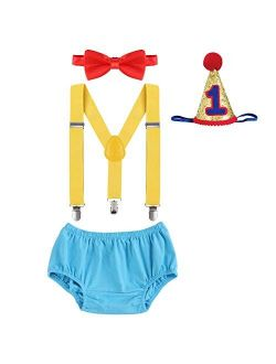 Baby Boys First Half Birthday Circus Cake Smash Clothes Diaper Bow Tie Suspender Clown Outfit Set W/Hat for Photography Party