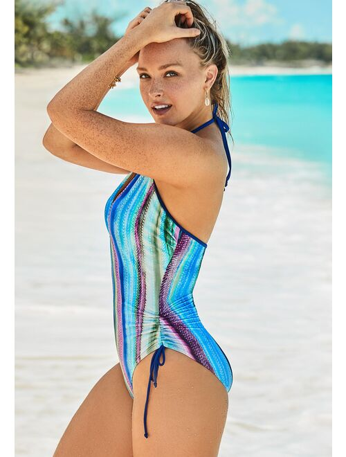 Swimsuits For All Women's Plus Size Halter Adjustable One Piece Swimsuit