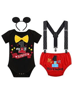 Formal Suit First Birthday Outfit for Baby Boy Cake Smash Mouse One Party Gentleman Set Suspenders Bowtie Halloween Costume
