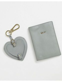 Paul Costelloe leather heart keychain and passport holder gift set in sage green