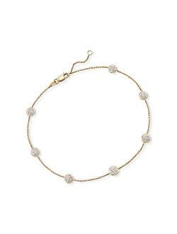 0.25 Ct. T.w. Pave Diamond Station Anklet In 14kt Yellow Gold. 9 Inches