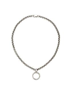 0.11 Ct. T.w. Diamond Circle Charm Anklet In 14kt White Gold. 9.5 Inches