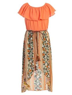Girls Off Shoulder High Low Maxi Split Skirt Romper Casual Dress Summer Birthday Jumpsuits USA 4-14