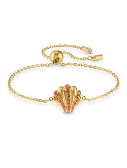 Shell Bracelet, Red, Gold-tone Plated