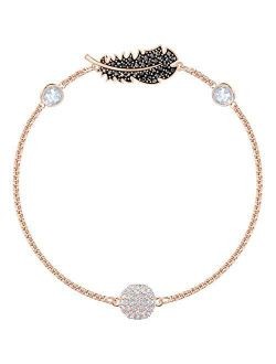 Crystal Authentic Remix Feather Strand Bracelet, Rose Gold Tone Plated, Black - Women's Vintage Fashion Accessory And Stone Studded Everyday Jewelry - Ideal Ann