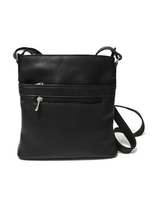 ROYCE New York Royce Triple Zip Crossbody Bag in Colombian Genuine Leather