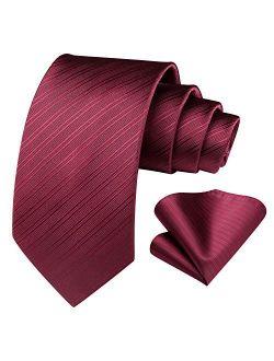 Plaid Stripe Pattern Men's Tie And Pocket Square Set Woven Necktie Handkerchief