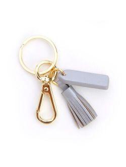 Leather Mini Tassel Key Fob with Gold Hardware