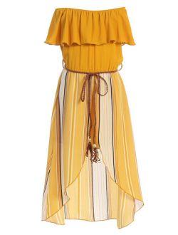 Little Girls 2 Ways Ruffle Hi Lo Maxi Skirt Romper Belt Jumpsuit Romper USA Mustard 4 (2J1K42S)