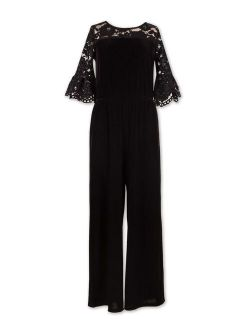 Lots of Love by Speechless Girls Bell Sleeve Crepe and Lace Holiday Jumpsuit, Sizes 7-16