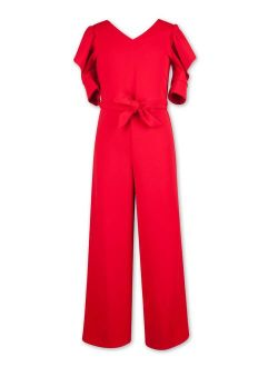 Lots of Love by Speechless Girls Ruffle Sleeve Tie Waist Christmas Holiday Jumpsuit, Sizes 7-16