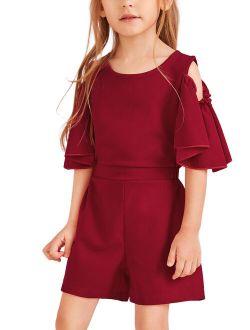 Bmnmsl Girls Summer One-piece Playsuit Fly Sleeve Off-shoulder Jumpsuit