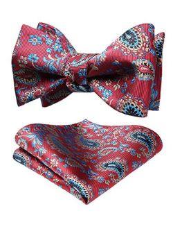 Men's Paisley Floral Jacquard Self Bow Tie Pocket Square Set Wedding Party