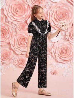 Girls 1pc Floral Lace Trim Puff Sleeve Jumpsuit