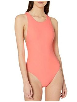 Women's High Neck One Piece Swimsuit With Low Open Back