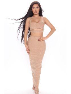 Get Like Me Bandage Skirt Set - Taupe