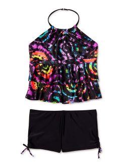 Girls Tankini Halter Top With Shorts Bottom Swimsuit, 4-16 & Girls Plus