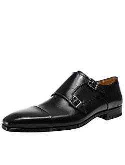 Men's Leather Double Monk Siros Shoes Black