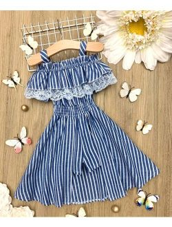 Blue & White Pinstripe Ruffle-Accent Off-Shoulder Jumpsuit - Toddler & Girls