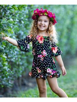 Black & Pink Floral Ruffle-Hem Off-Shoulder Romper - Toddler & Girls