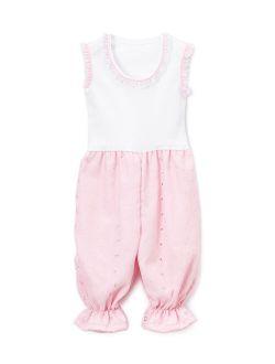 White & Pink Sleeveless Romper - Infant & Toddler