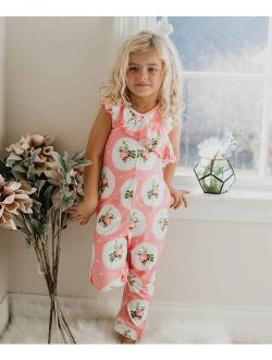 Pink Floral Ruffle-Accent Sleeveless Jumpsuit - Toddler & Girls
