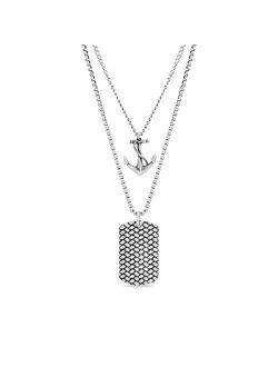28 Inch Oxidized Stainless Steel Box And Curb Chain Anchor And Dogtag Duo Pendant Necklace For Men