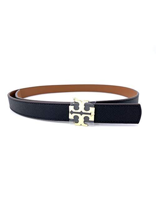 Tory Burch 39080-010 Black/Bark 1 inch Reversible Logo Women's Belt