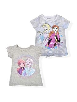 Frozen Girls 2-pack Tees, Knotted Shirt And Ruffle Sleeve Top