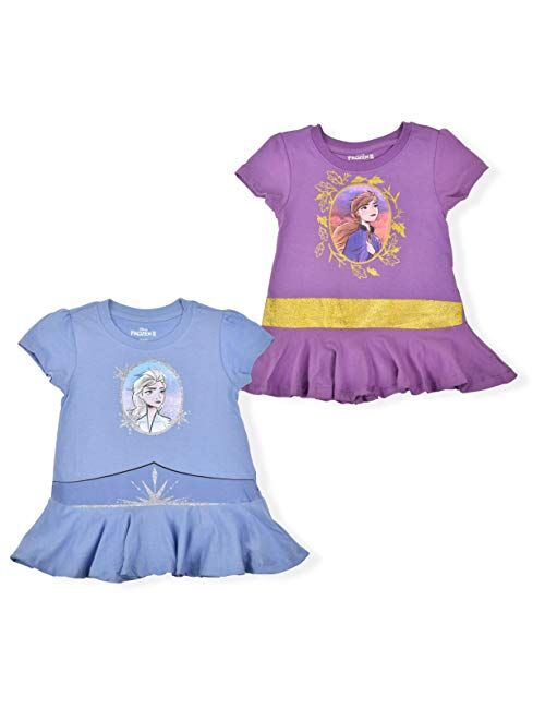 Disney Frozen 2 Girl's 2-Pack Princess Anna and Elsa Character Tees with Cape, Purple/Blue