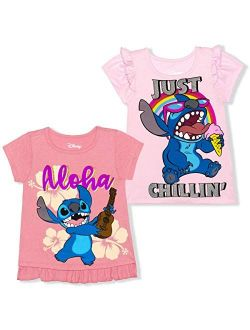 Girl's 2 Pack Lilo And Stitch Short Sleeves Tee Shirt Set, Kid's Shirt Bundle