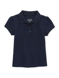 Girls Toddler Uniform Ruffle Pique Polo