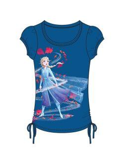 Girls Frozen Ii Fall Wind Spin Elsa Side Tie Top Blue X-small