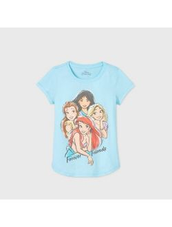Disney Princess 'forever Friends' Short Sleeve Graphic T-shirt - Blue