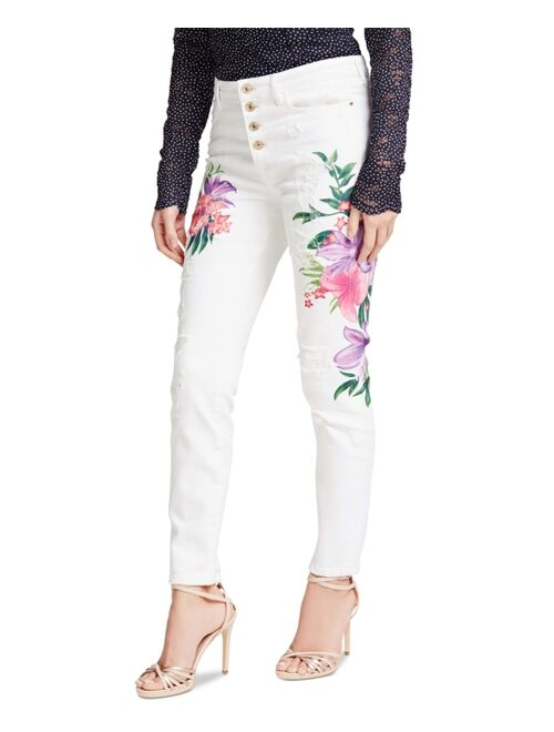 Guess 1981 Button-Fly Floral-Detail Skinny Jeans