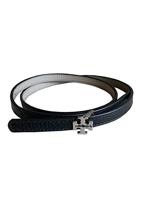 Tory Burch Women's 70424 Reversible Logo Belt 1/2 Waist Belt, Black/French Grey