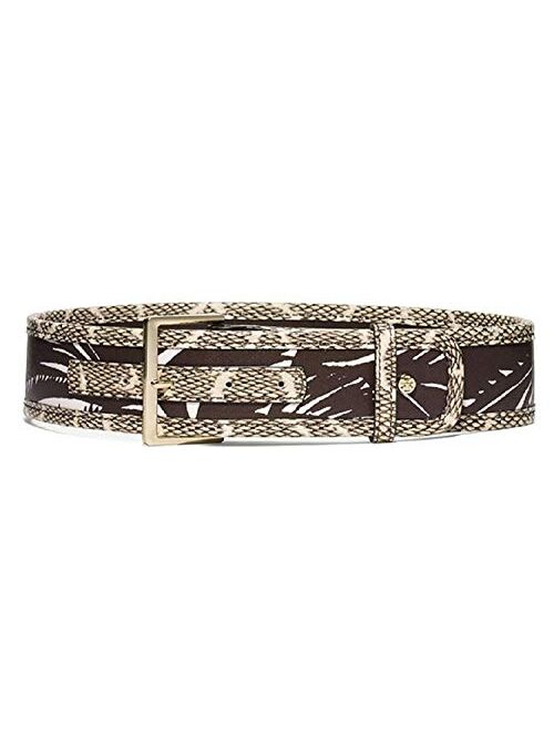Tory Burch Square Buckle Mixed Media Belt Tabora Brown Floral