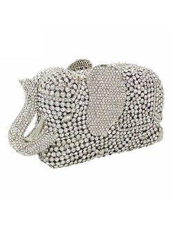 Elephant Evening Clutches Bags Metal Crystal Clutch Minaudiere Wedding Bridal Purses and Handbags
