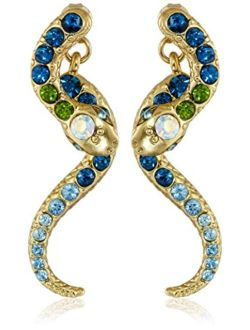 Pave Crystal Snake Front & Back Linear Earrings