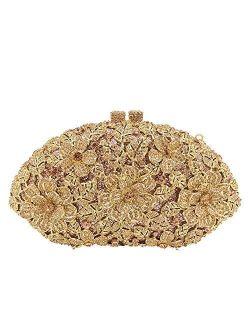 Dazzling Crystal Flower Women Crystal Clutch Evening Bag Wedding Party Diamond Handbag and Purse
