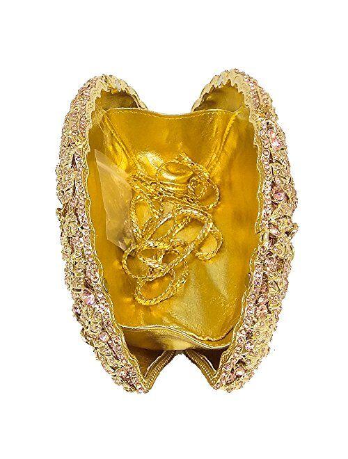 Boutique De FGG Dazzling Crystal Flower Women Crystal Clutch Evening Bag Wedding Party Diamond Handbag and Purse