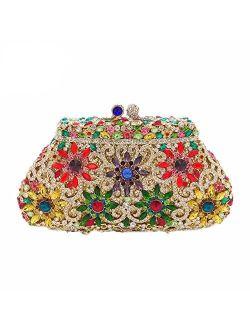 Dazzling Elegant Women Flower Crystal Evening Clutches Minaudiere Purse Wedding Cocktail Bag