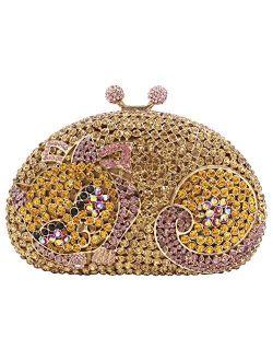 Women Rhinestone Evening-Bag Chain Wedding Clutch-Purse Luxury Handbag Cat