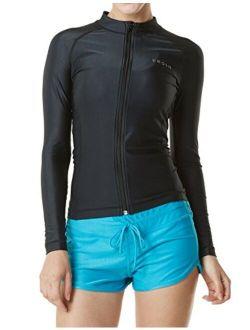 TSLA Women's UPF 50+ Zipper Rash Guard, Water Surfing Long Sleeve Swimwear, UV/Sun Protection Swim Shirts Top